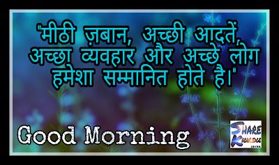"""Positive Image Quotes in Hindi Image on quote.Written""""मीठी ज़बान ,अच्छी आदतें , अच्छा व्यवहार और अच्छे लोग हमेशा सम्मानित होते है। """""""